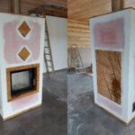 kominek nowoczesny w domku drewnianym od Damaro Kominki i Piece Rybnik
